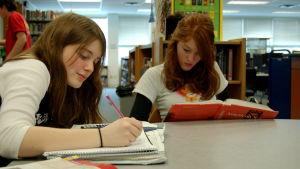 två flickor studerar