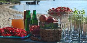 Ett bord uppdukat med en bricka med röda vinbär, en skål hallon, en skål jordgubbar, en korg äppel, en korg svarta vinbärsblad, en karaff med appelsinjuice, några flaskor cider, en karaff med svagdricka och några highball-glas, på en sandstrand med havet