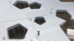 Arvo Pärt-center uppifrån visar att huset är inspirerat av det femkantade Pentagon i USAs huvudstad Washington DC.