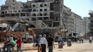 Gamla staden i Homs efter bombningar