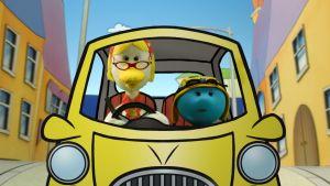 Hanna Ankka ajaa autoa