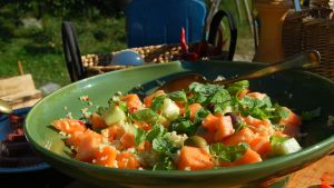 Mat på sten med melonsallad