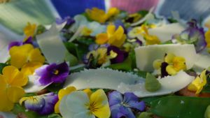 Sotad lammyttrefilé med violer och ärtkräm.