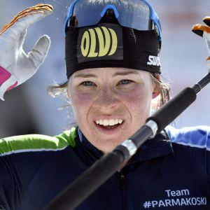 Skidåkaren Krista Pärmäkoski under FM-tävlingarna i Äänekoski.