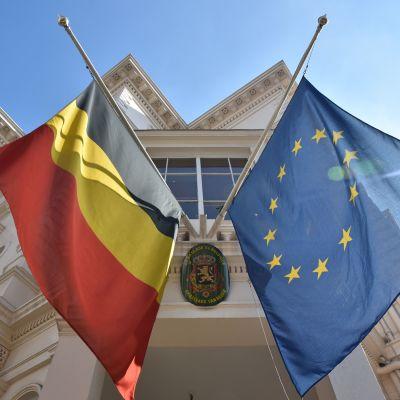 Flaggor på halvstång efter Brysselattackerna.