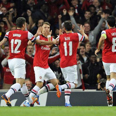 Arsenal juhlii Mestarien liigassa 1.10. 2013