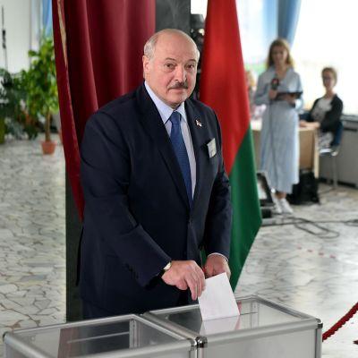 Alexander Lukasjenko i vallokalen i Minsk.