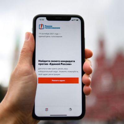 """En hand håller upp en telefon, med en text på ryska som lyder: """"Hitta din kandidat mot Enade Ryssland""""."""