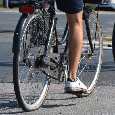 Två cyklister på en asfalterad väg.
