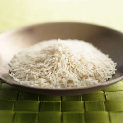 En tallrik med ris.