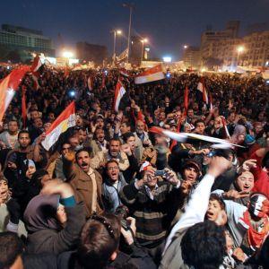 Demonstranter på Tahrir-torget i Kairo