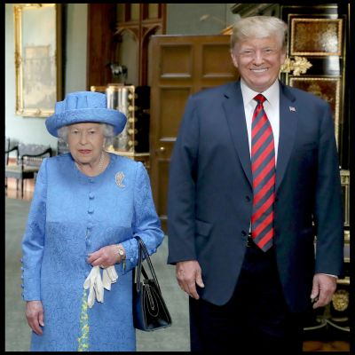 Donald Trump och drottning Elizabeth i Windsor Castle 13.7.2018.