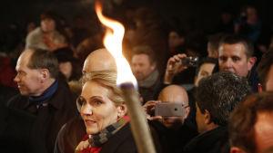 Danmarks statsminister Helle Thorning-Schmidt på en minnestillställning efter terrorattentaten i Köpenhamn.