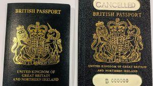 Brittiskta pass. Till vänster det nya (år 2020), till höger det gamla