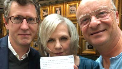 Liselott Forsman flankerad av Jonas Gardell och Dominic Schreiber i samband med Helsinki Script 2019.