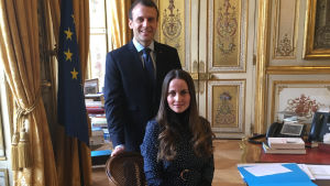 Sherin Khakan och Frankrikes president Emmanuel Macron