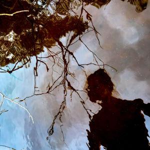 En kvinnas avbild speglad i vattenytan och några kvistar som hänger ovanför.
