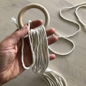 hand som håller i 16 snören och en träring