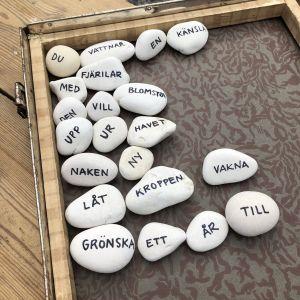 Kiviä tekstillä