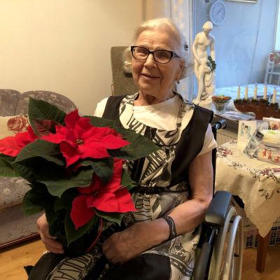 Hertta-Sisko Eronen istuu pyörätuolissa joulukukka sylissään