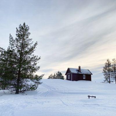 Punainen tupa mäen päällä hankien keskellä Vähä-Huiturin saaressa Perämeren kansallispuistossa. Etualalla mäntyjä ja taustalla auringonlasku.