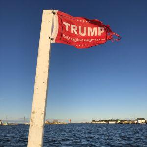 Trumps reklamflagga vajar på borgmästarens båt