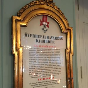 Överbefälhavarens dagorder, tavla i Brändö kyrka i Vasa.
