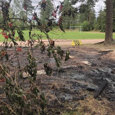 Nedbrunnet skjul vid Kullo fotbollsplan