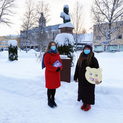 Runebergintorttu-taidetta Kokkolan puistoissa.
