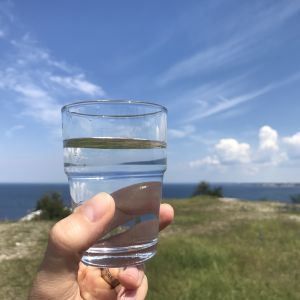 En hand håller upp ett glas med vatten, med havet i bakgrunden.