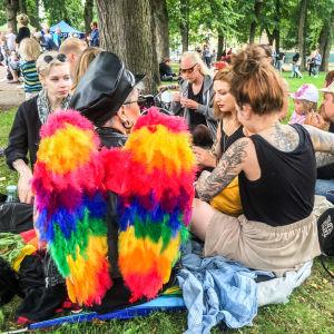 Pridefestival i park.