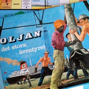 """Brädspelet """"Oljan det stora äventyret"""" (närbild av ask)"""
