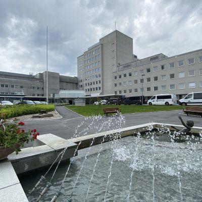 En sjukhusbyggnad. I förgrunden ses en fontän omgiven av ett grönområde.