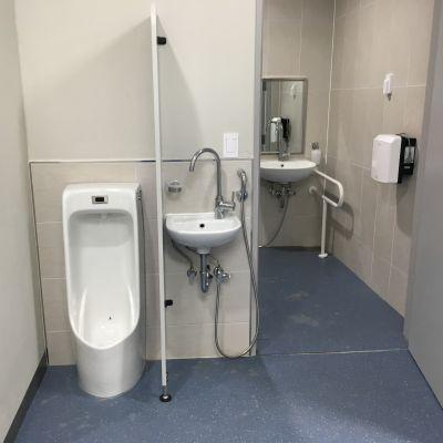 En toalett i Lejonens omklädningsrum i Pyeongchang.