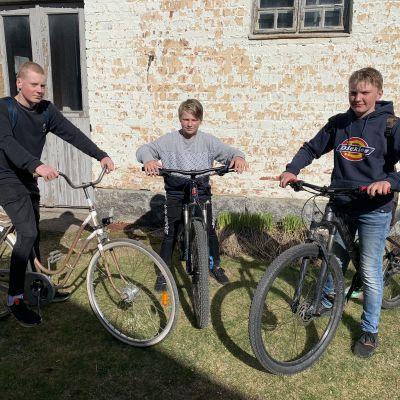 Högstadieeleverna Ben Haga, Alex Nyberg och Joar Holmqvist står med sina cyklar.
