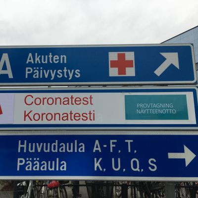 Skylt utanför Vasa centralsjukhus.