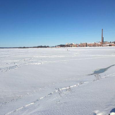 Vaasan sisäsatamaan on satanut paljon luntea veden rajaan