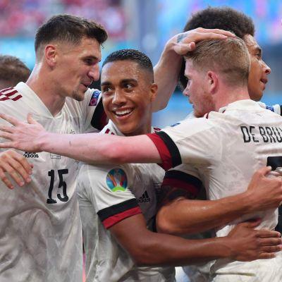 Belgien firar mål i EM.