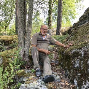 Svampplockaren Kurt Söderberg sitter mellan ett träd och en stor sten där han vanligtvis alltid brukar hitta kantareller. Nu syns inga svampar till.