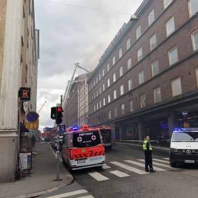Brand i centrum av Helsingfors