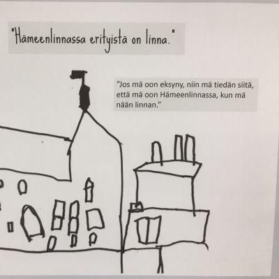 Lapsen piirtämä linna.