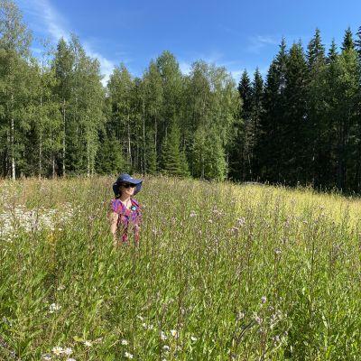 Emilia Piipponen hoitaa perhospeltojaan kaikkien pölyttäjien hyödyksi