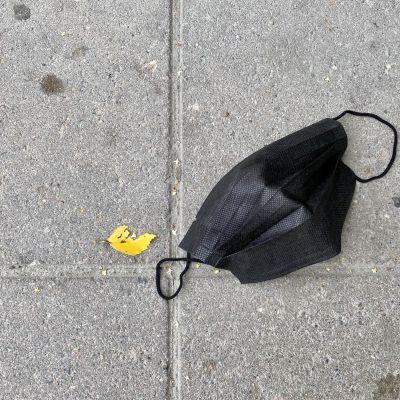 Maassa on kasvomaski, sen vierellä keltainen koivunlehti.