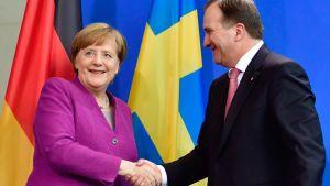 Angela Merkel träffade Sveriges statsminister Stefan Löfven i Berlin 16.3.2018.