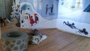 """En del av Alexander Reichsteins collage under temat """"I Lappland och på vintern"""". Rådhusgallerian i Nykarleby 2018."""