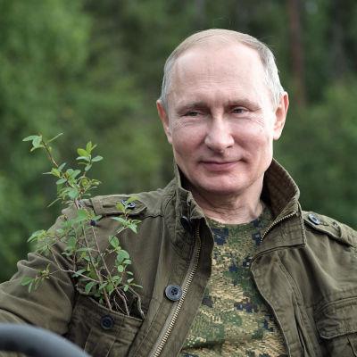 Rysslands president Vladimir Putin kör båt.