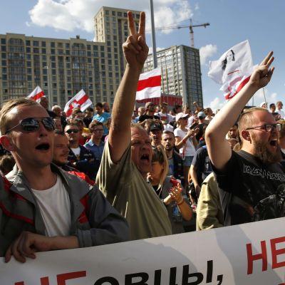 Ihmiset huutavat kädet pystyssä punavalkoisten lippujen keskellä