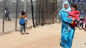 Syriska flyktingar på flyktinglägret Zaatari i Jordanien