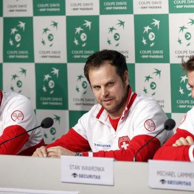 Roger Federer, Severin Lüthi och Stan Wawrinka.