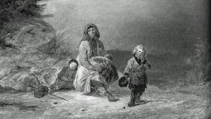 Tiggarfamilj vid landsvägen. Målning av Robert Wilhelm Ekman från 1860